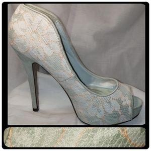 Faux suede peep-toe platform pump with lace detail